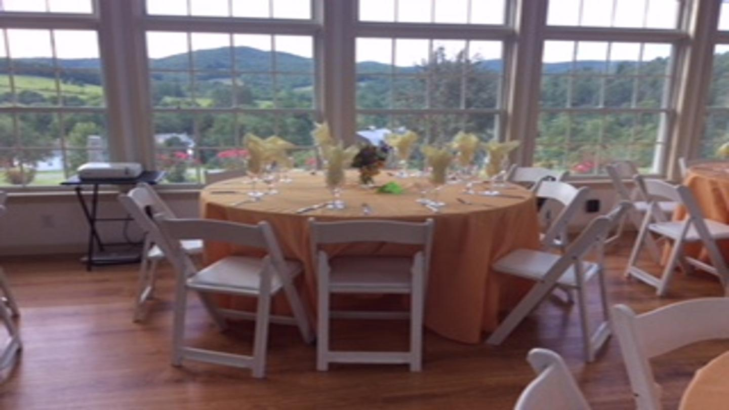 Wedding table view of grounds