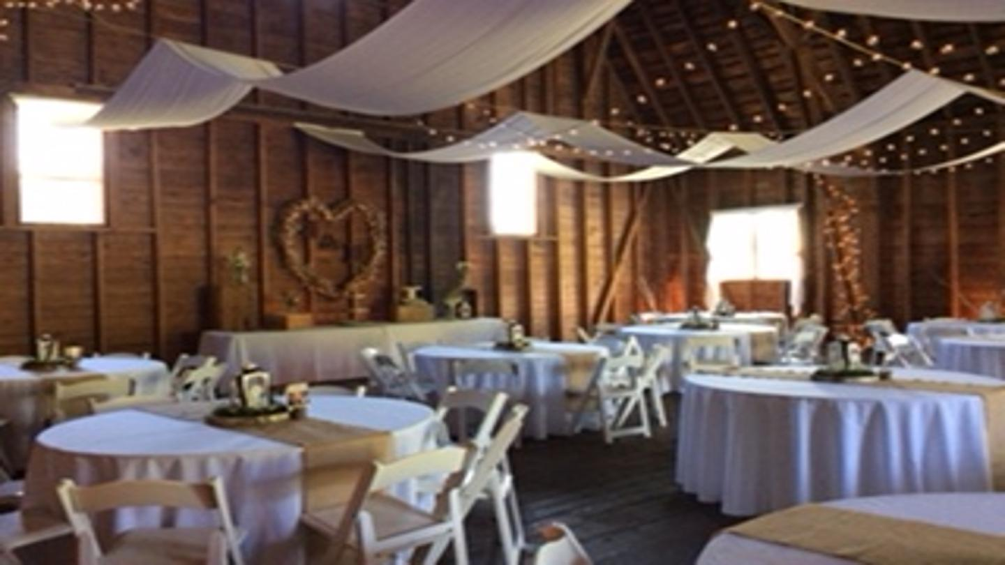 barn wedding set up